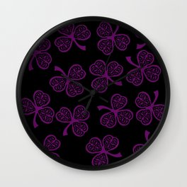 Purple shamrock Wall Clock