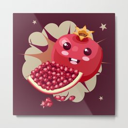 Kawaii Pomegranate Metal Print