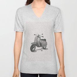 Vintage Scooter black and white Unisex V-Neck