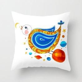 Farm animals in space - Bird Throw Pillow