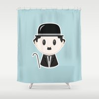chaplin Shower Curtains featuring Charlie Chaplin by Cloudsfactory