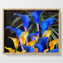 BLACK MODERN ABSTRACT BLUE & GOLD CALLA LILIES Serving Tray