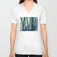 woodland V-neck T-shirts featuring Woodland Holiday  by Laura Ruth