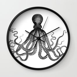 Antique Nautical Steampunk Octopus Vintage Victorian Kraken sea monster emo goth drawing Wall Clock