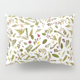 Greenery Floral Pressed Flowers Pillow Sham