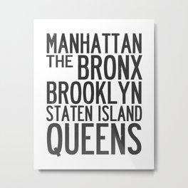 NYC Typography B&W Metal Print
