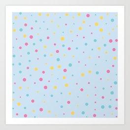 Multicolour Polka Dots on Blue Background Art Print