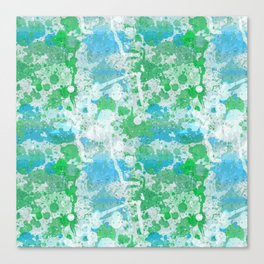Abstract Paint Splatters Blue and Green Canvas Print
