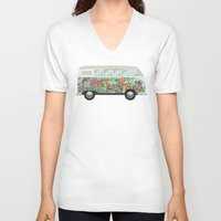 hippie V-neck T-shirts featuring Hippie van by eARTh
