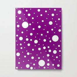 Mixed Polka Dots - White on Purple Violet Metal Print