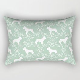 French Bulldog floral minimal mint and white pet silhouette frenchie pattern Rectangular Pillow