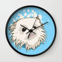 pomeranian Wall Clocks featuring Pomeranian Face by Brian J Murphy
