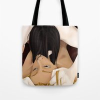 yaoi Tote Bags featuring Untitled - Yaoi by Sandra Höfer