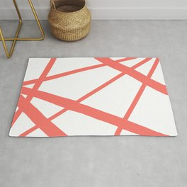 Living Coral Open Star Geometric Abstract on White Rug