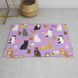 Cat breeds junk food pizza french fries food with cats gifts ice cream donuts Rug