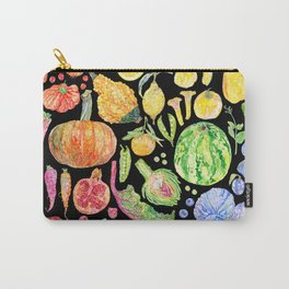 Rainbow of Fruits and Vegetables Dark Carry-All Pouch