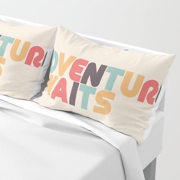 Adventure Awaits Retro Rainbow Typography Pillow Sham