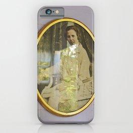 Lady portrait in golden frames iPhone Case