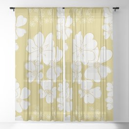 White thoughts on gold Sheer Curtain
