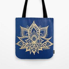 Gold and Blue Lotus Flower Mandala Tote Bag