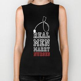 Real men marry nurses cool clever quotes funny t-shirt Biker Tank