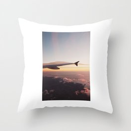 airplane window sunrise Throw Pillow