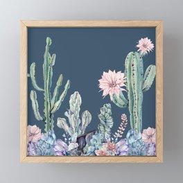 Desert Gemstone Oasis Navy Teal Framed Mini Art Print