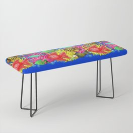 Fish Cute Colorful Doodles Bench
