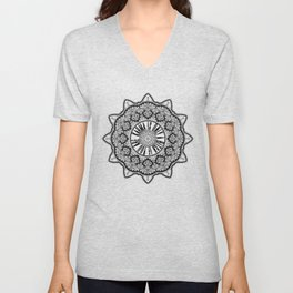 Karma is Only a B**ch if You Are - Be Nice, D***it - Mandala in Black & White Unisex V-Neck