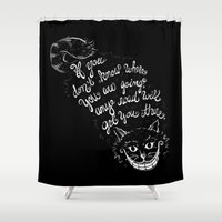 cheshire cat Shower Curtains featuring Cheshire Cat by Kellabell9