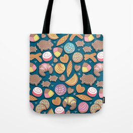 Mexican Sweet Bakery Frenzy // turquoise background // pastel colors pan dulce Tote Bag