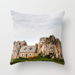 House between rocks in Brittany, Castel Meur Throw Pillow