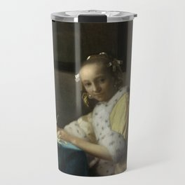 A Lady Writing Oil Painting by Johannes Vermeer Travel Mug