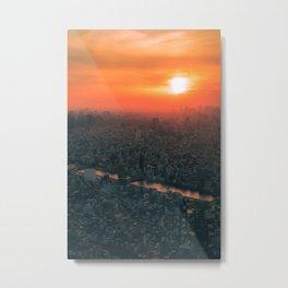 Tokyo Japan Skyline Sunset Metal Print