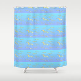 Birds in the blue sky 2-bird,sky,hope,feathers,jaws,eggs,aves,wing Shower Curtain