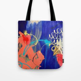 Everything Is Peachy raw canvas mixed media painting Tote Bag