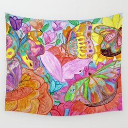 Colourful Butterfly among colourful flowers Wall Tapestry