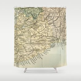Vintage and Retro Map of Southern Ireland Shower Curtain