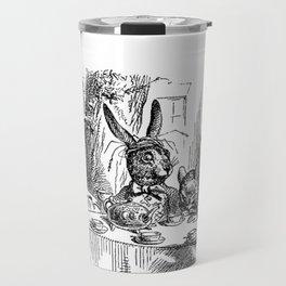 Vintage Alice in Wonderland Mad Hatter & rabbit tea party antique goth emo book gothic drawing print Travel Mug