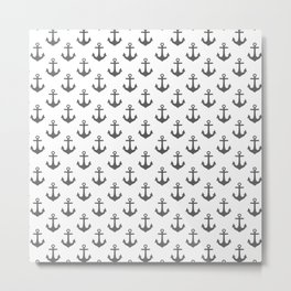 Anchors (Grey & White Pattern) Metal Print