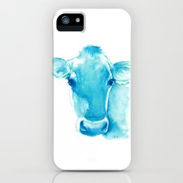Blue Cow Watercolor iPhone Case