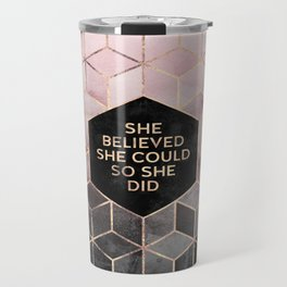 She Believed She Could - Grey Pink Travel Mug