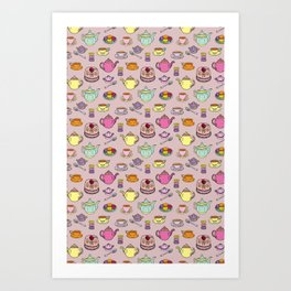 Time For Tea and Cake Illustrated Print Art Print