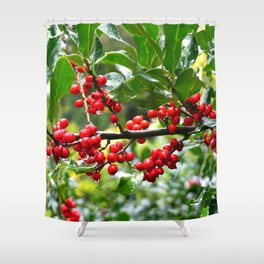 Holly - Red berries Shower Curtain