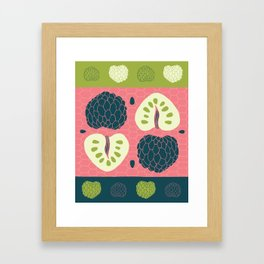 Tropical Paleo – Custard Apple in Pink Framed Art Print