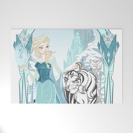 Frozen White Tiger Welcome Mat