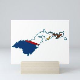 American Samoa Map with Samoan Flag Mini Art Print