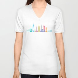 New York Skyline White Unisex V-Neck