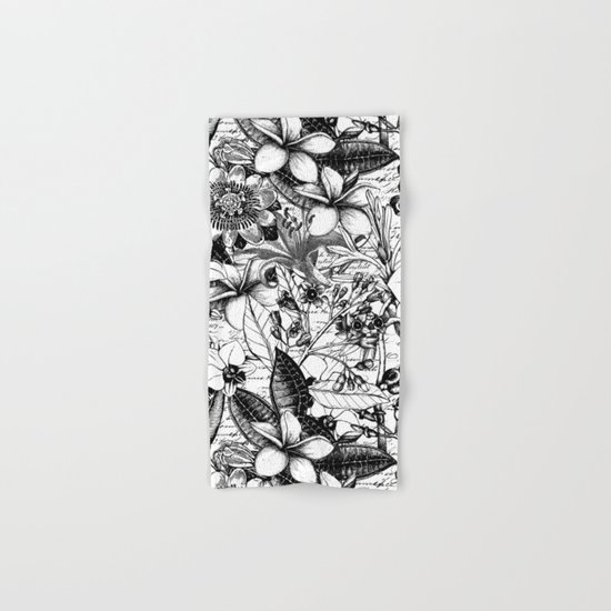 Black and white tropical flower Hand & Bath Towel