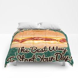 Retro Breakfast Sandwich Sign Comforters